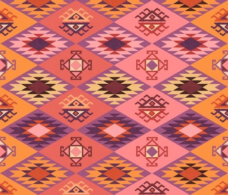 Diamond Kilim - Pink - Texture fabric by fernlesliestudio on Spoonflower - custom fabric