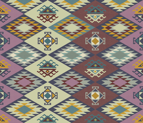 Diamond Kilim - Purple - Texture fabric by fernlesliestudio on Spoonflower - custom fabric