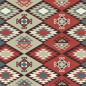 Diamond Kilim - Vintage American - Texture