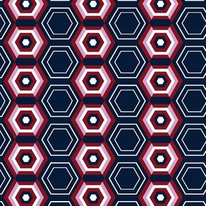 Orchid & Navy 1970s Hexagons