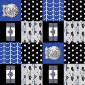 Police (Canadian Flag) Patchwork  - thin blue line flag - wholecloth maple leaf (90)