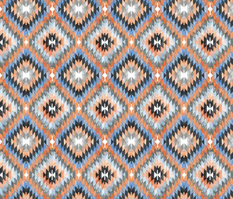 Diamond Kilim orange version fabric by rebecca_reck_art on Spoonflower - custom fabric