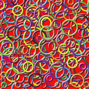 3D Circles on a Red Background