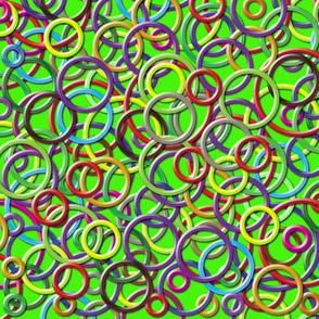3D Circles on a Green Background