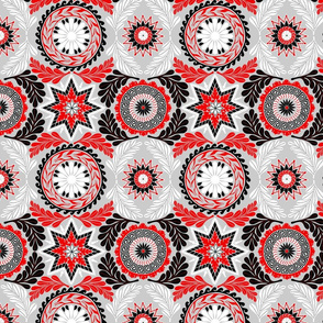 Greek Mandalas in Red and Black