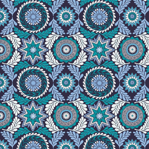 Greek Mandalas in Blue and Teal