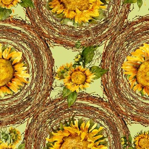 sunflowers and wreaths watercolor on green fabric