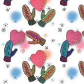 Knitted gloves and heart
