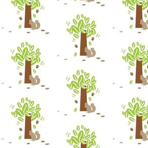 Tree with Busy Bushy Tail Squirrel and Acorns, Foliage, Forest Animals,