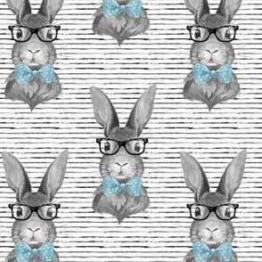 "4"" BUNNY WITH GLASSES / BLACK & WHITE / STRIPES"