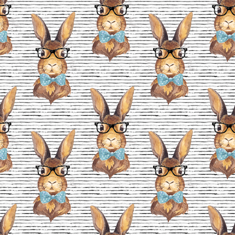 "4"" BUNNY WITH GLASSES /  STRIPES fabric by shopcabin on Spoonflower - custom fabric"