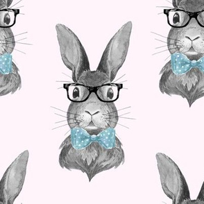 """8"""" BUNNY WITH GLASSES / BLACK AND WHITE / PINK"""