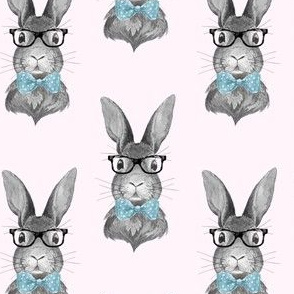 "4"" BUNNY WITH GLASSES / BLACK AND WHITE / PINK"
