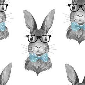 """8"""" BUNNY WITH GLASSES / BLACK AND WHITE"""