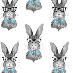 "4"" BUNNY WITH GLASSES / BLACK AND WHITE"