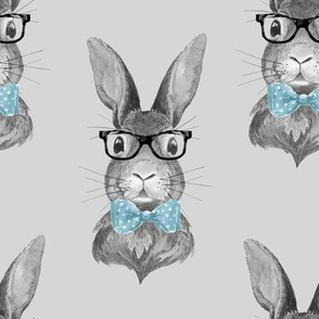 """8"""" BUNNY WITH GLASSES / BLACK AND WHITE / GREY"""