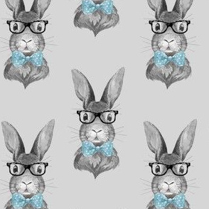 """4"""" BUNNY WITH GLASSES / BLACK AND WHITE / GREY"""