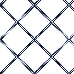 navy diamond geometric fabric
