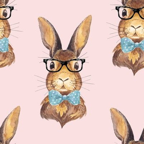 """8"""" BUNNY WITH GLASSES / DARKER PINK"""