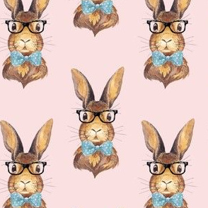 """4"""" BUNNY WITH GLASSES / DARKER PINK"""