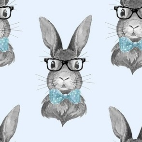 """8"""" BUNNY WITH GLASSES / BLACK AND WHITE / BLUE"""