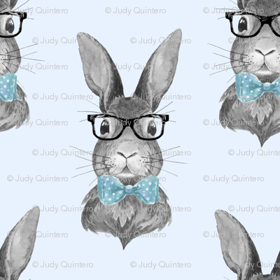 """4"""" BUNNY WITH GLASSES / BLACK AND WHITE / BLUE"""