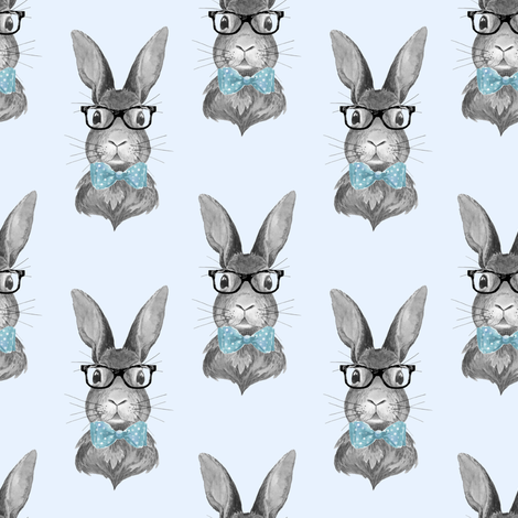 """4"""" BUNNY WITH GLASSES / BLACK AND WHITE / BLUE fabric by shopcabin on Spoonflower - custom fabric"""