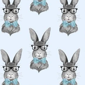 "4"" BUNNY WITH GLASSES / BLACK AND WHITE / BLUE"