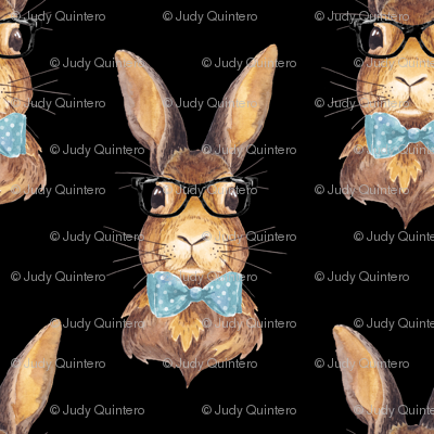 "8"" BUNNY WITH GLASSES / BLACK"