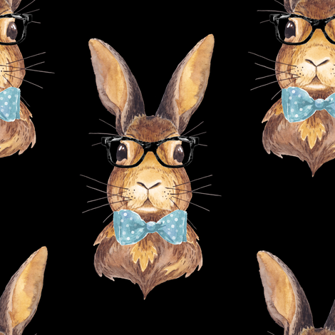 "8"" BUNNY WITH GLASSES / BLACK fabric by shopcabin on Spoonflower - custom fabric"