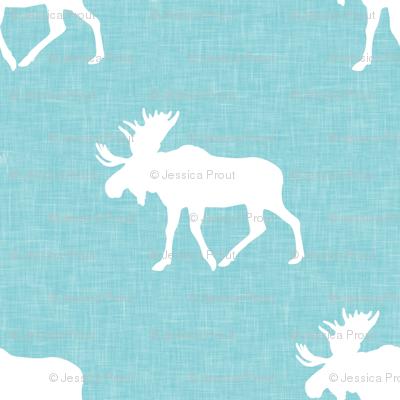 moose on teal linen