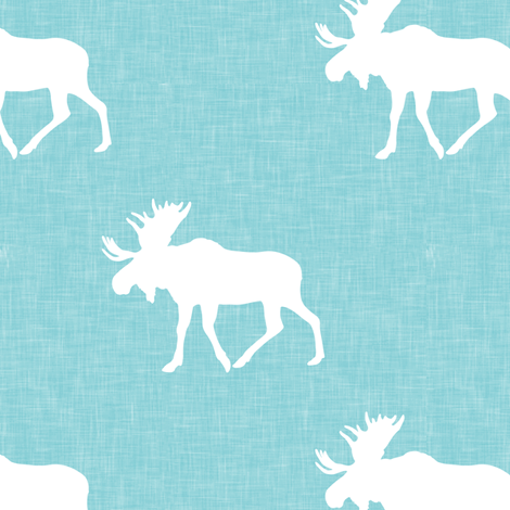 moose on teal linen fabric by littlearrowdesign on Spoonflower - custom fabric