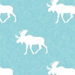 moose on teal linen