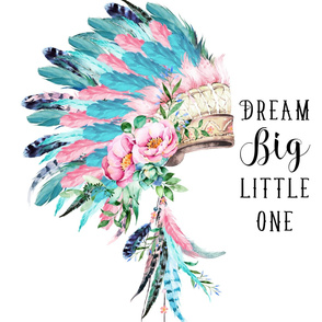"27""x36"" Pink and Aqua Headdress / Dream Big"