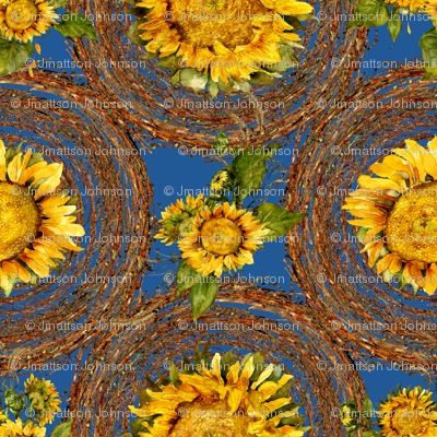 sunflowers and wreaths watercolor on blue fabric
