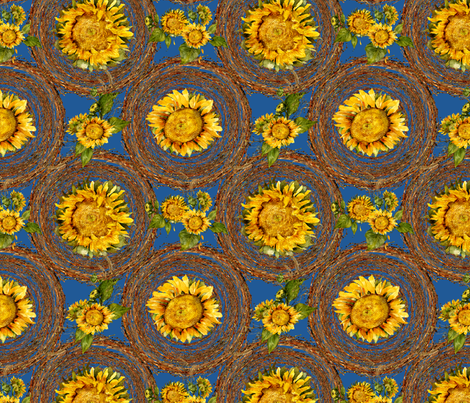 sunflowers and wreaths watercolor on blue fabric fabric by madeinskandia on Spoonflower - custom fabric