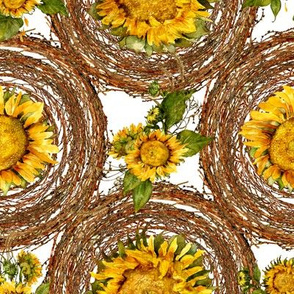 sunflowers and wreaths watercolor on white fabric