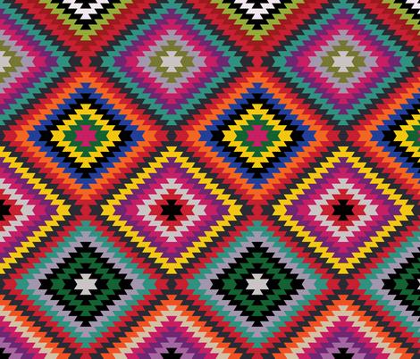 Modern Kilim - bright rainbow fabric by cecca on Spoonflower - custom fabric