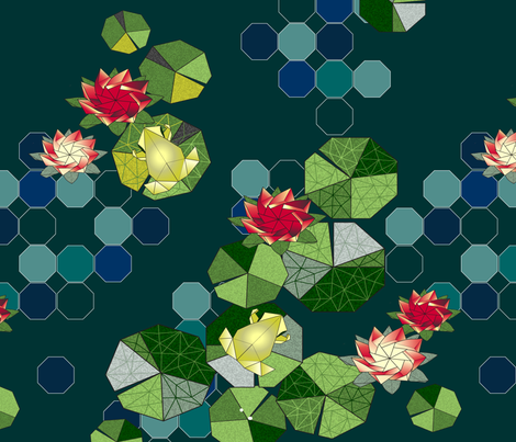 Lotus Pond Origami fabric by cinz on Spoonflower - custom fabric