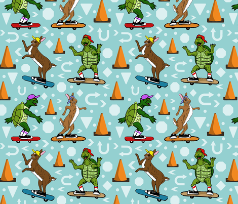 Tortoise and hare street meet fabric by leroyj on Spoonflower - custom fabric