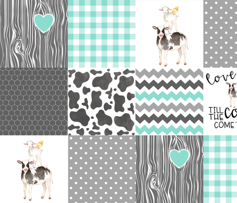 Farm / Love you till the cows come home - wholecloth cheater quilt fabric by longdogcustomdesigns on Spoonflower - custom fabric