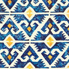 Thunderbird Kilim Watercolor //  bohemian tribal kilim arrows aztec boho diamond watercolor fabric