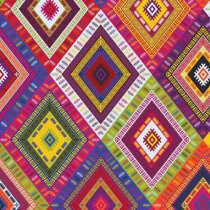 Kilim Diamonds - bright rainbow