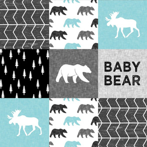 Baby Bear Woodland Patchwork - bear and moose - grey, black, teal
