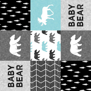 Baby Bear Woodland Patchwork - bear and moose - grey, black, teal (90)