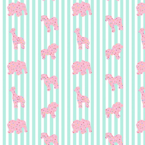 Animal Cookies Pink on Aqua Stripes