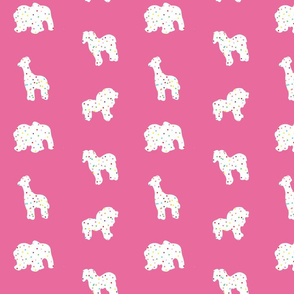 Animal Cookies White on Pink