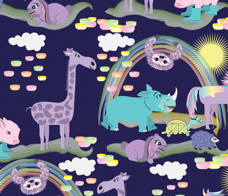 Hare Raising Race, Violet, Animals, Tortoise and the Hare, Turtle, Hedgehog, Giraffe, Rhino, Rabbit, Unicorn, Sloth fabric by applebutterpattycake on Spoonflower - custom fabric