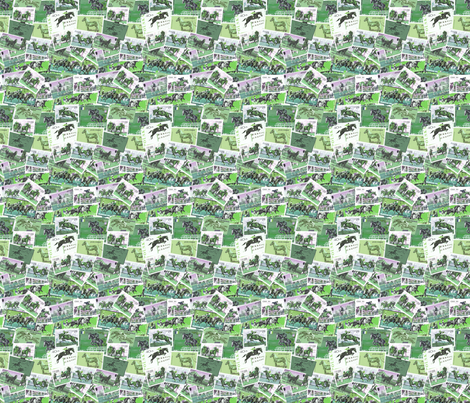 Horses Moving Green with pink fabric by millcitytextiles on Spoonflower - custom fabric