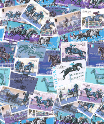 Horses Moving Purple and Blue